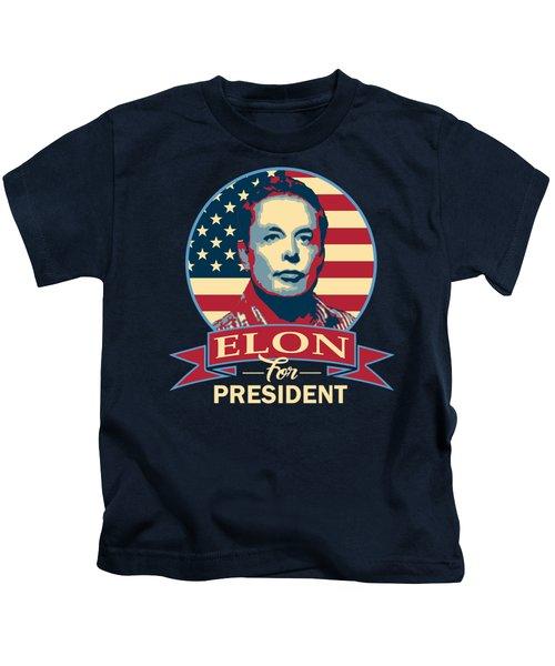 Elon For President American Banner Pop Art Kids T-Shirt