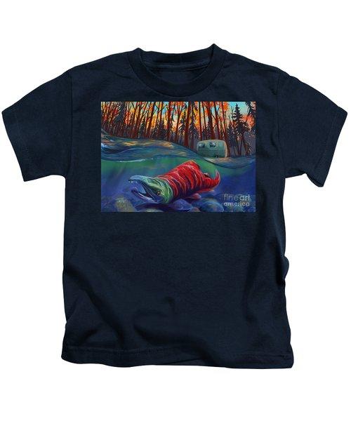 Fall Salmon Fishing Kids T-Shirt