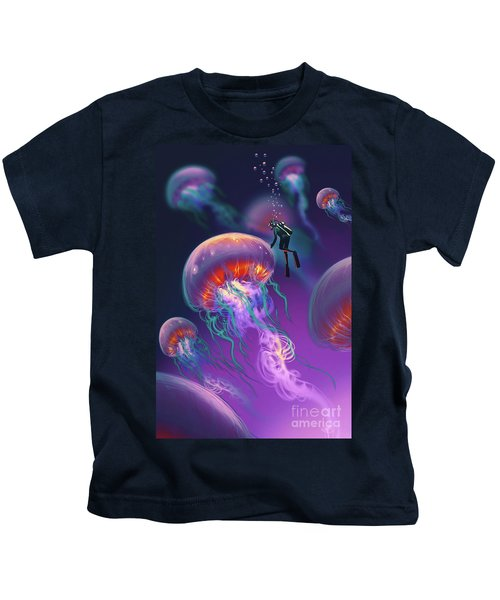 Kids T-Shirt featuring the painting Fantasy Underworld by Tithi Luadthong