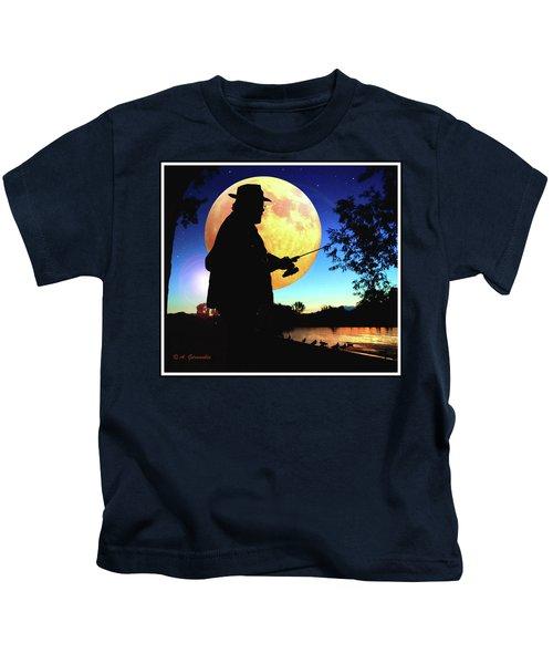 Fisherman In The Moolight Kids T-Shirt
