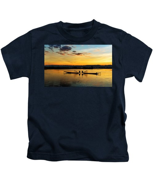 Fisherman On Their Boat Kids T-Shirt