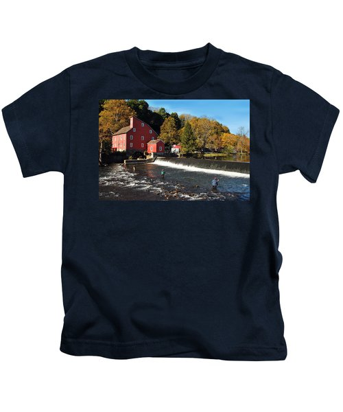 Fishing At The Old Mill Kids T-Shirt
