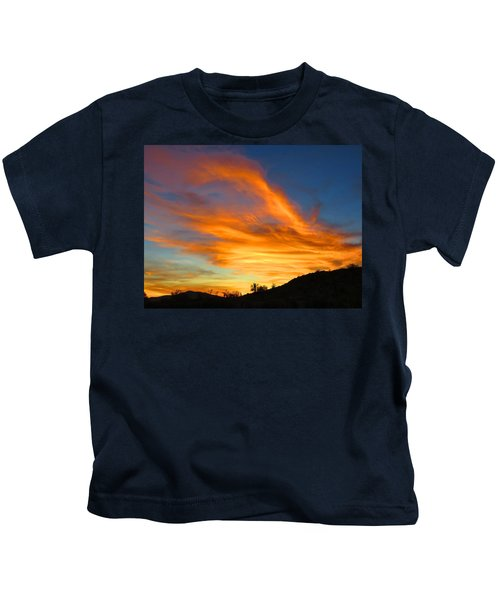 Kids T-Shirt featuring the photograph Flaming Hand Sunset by Judy Kennedy