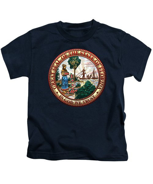 Florida State Seal Over Blue Velvet Kids T-Shirt by Serge Averbukh