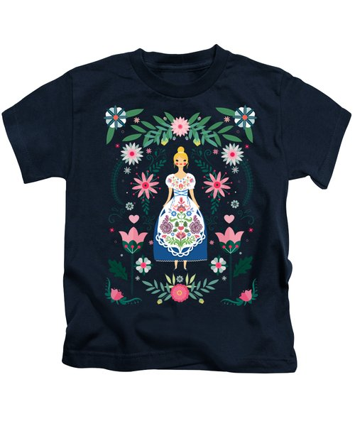Folk Art Forest Fairy Tale Fraulein Kids T-Shirt