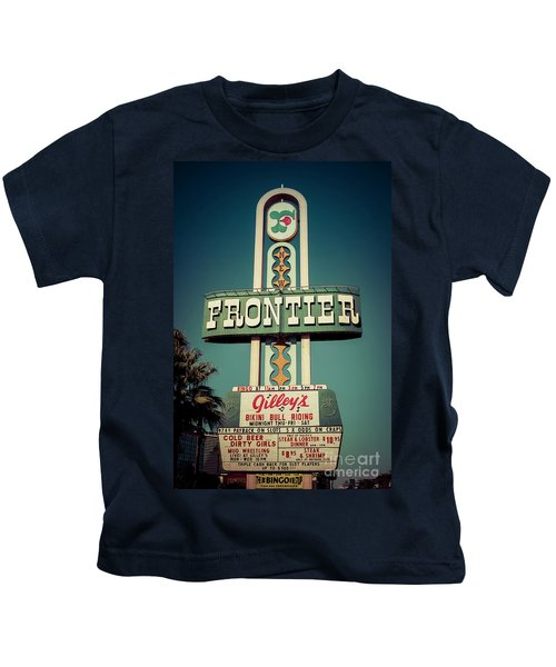 Frontier Hotel Sign, Las Vegas Kids T-Shirt