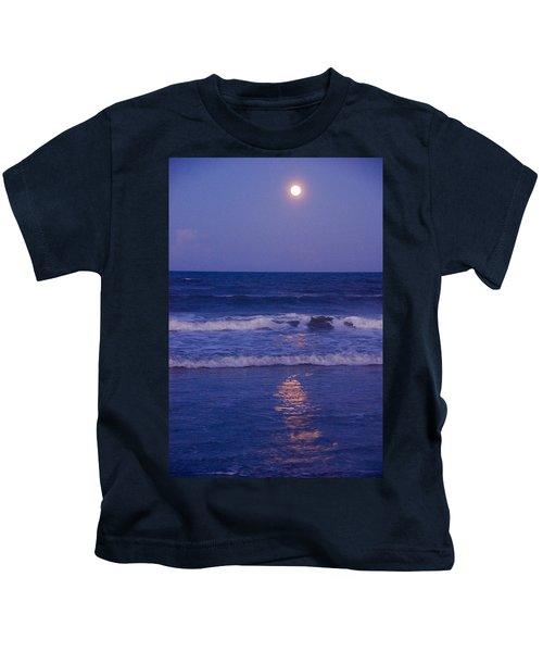 Full Moon Over The Ocean Kids T-Shirt