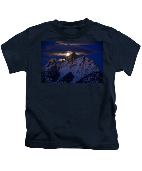 Full Moon Sets Over The Grand Teton Kids T-Shirt