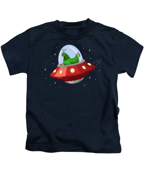 Funny Green Alien Martian Chicken In Flying Saucer Kids T-Shirt