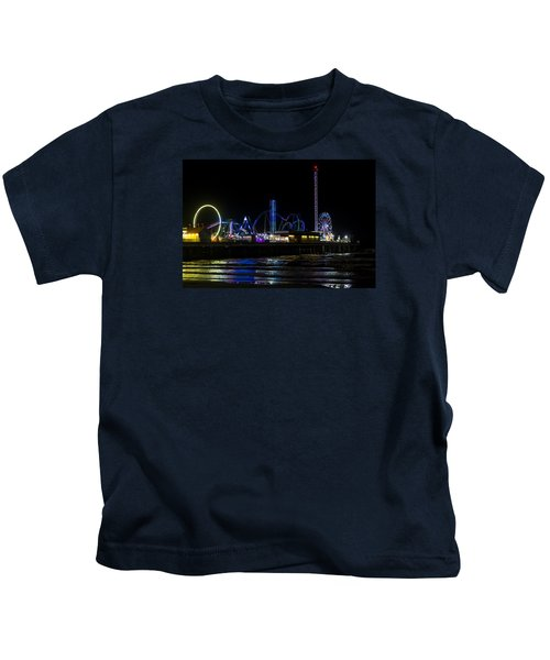 Galveston Island Historic Pleasure Pier At Night Kids T-Shirt