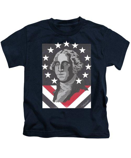 George Washington T-shirt Kids T-Shirt by Herb Strobino