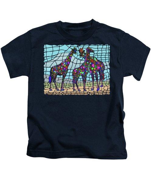 Giraffe Maze Kids T-Shirt by Anthony Mwangi