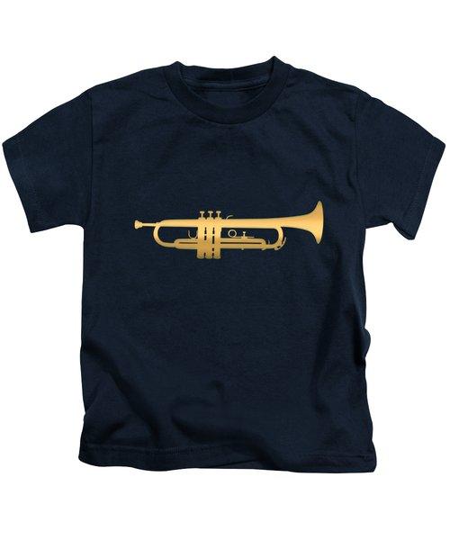 Gold Embossed Trumpet On Dark Midnight Blue Background Kids T-Shirt