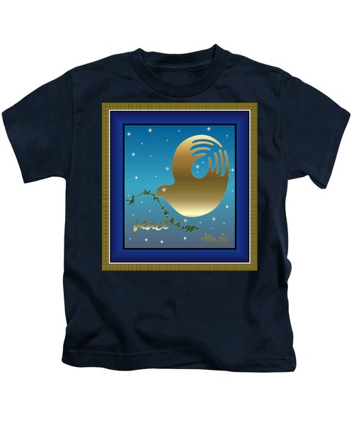 Gold Peace Dove Kids T-Shirt