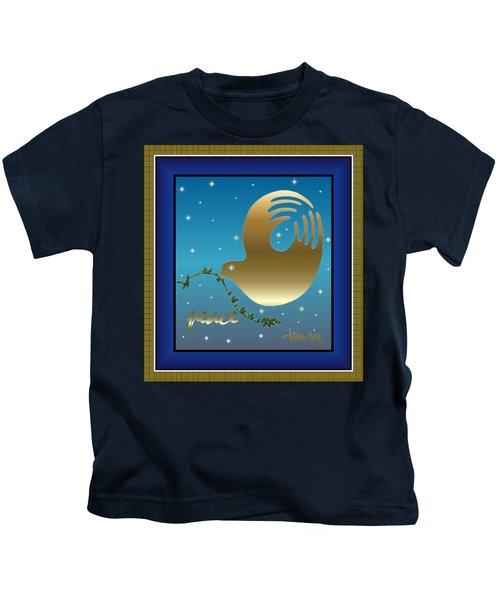 Gold Peace Dove Kids T-Shirt