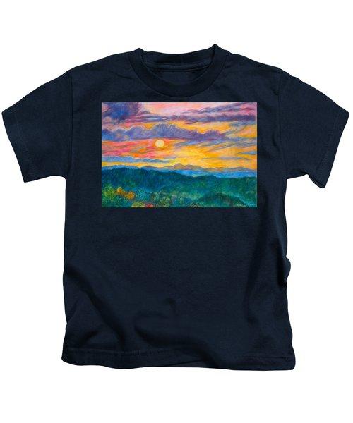 Golden Blue Ridge Sunset Kids T-Shirt