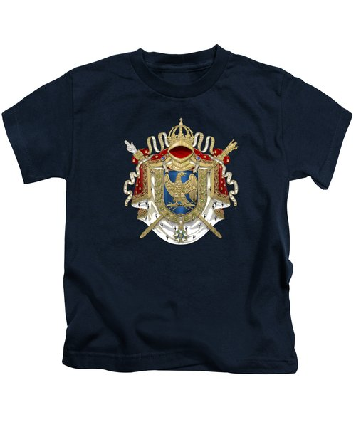 Greater Coat Of Arms Of The First French Empire Over Blue Velvet Kids T-Shirt