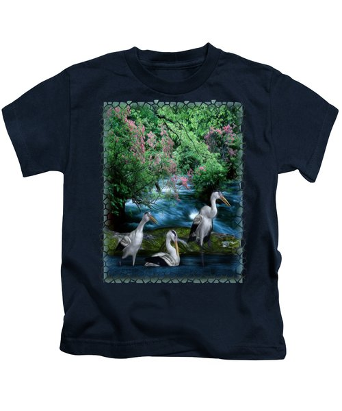 Grey Heron Point Kids T-Shirt by Sharon and Renee Lozen