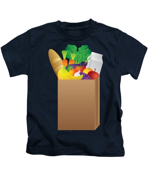 Grocery Paper Bag Of Food Illustration Kids T-Shirt