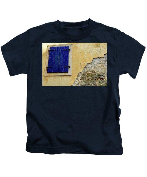 Groznjan Istrian Hill Town Stonework And Blue Shutters  - Istria, Croatia Kids T-Shirt