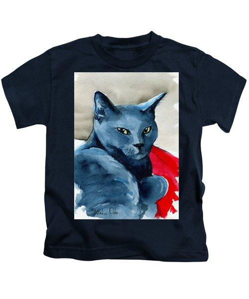 Handsome Russian Blue Cat Kids T-Shirt