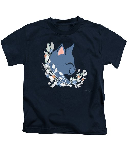 Happy Cat In The Springtime Garden Kids T-Shirt