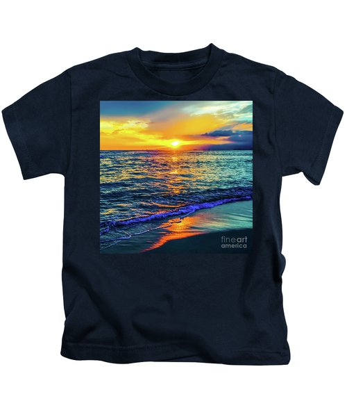 Hawaii Beach Sunset 149 Kids T-Shirt