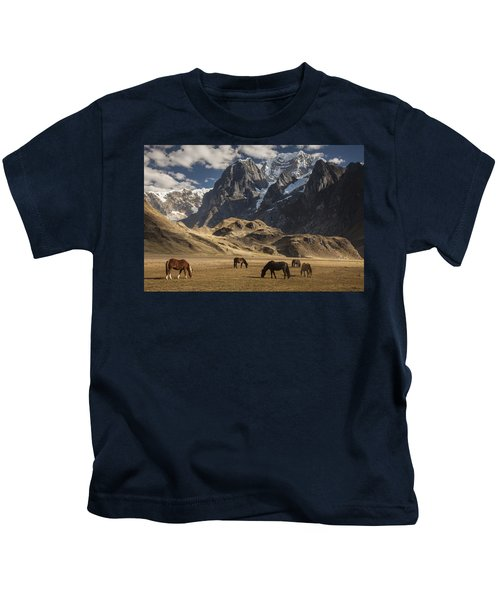 Horses Grazing Under Siula Grande Kids T-Shirt