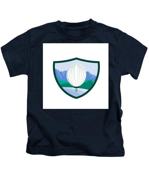 Hot Air Ballooning Sea Tree Mountains Crest Retro Kids T-Shirt