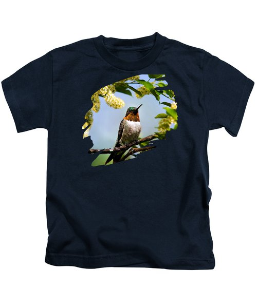 Hummingbird With Flowers Kids T-Shirt by Christina Rollo