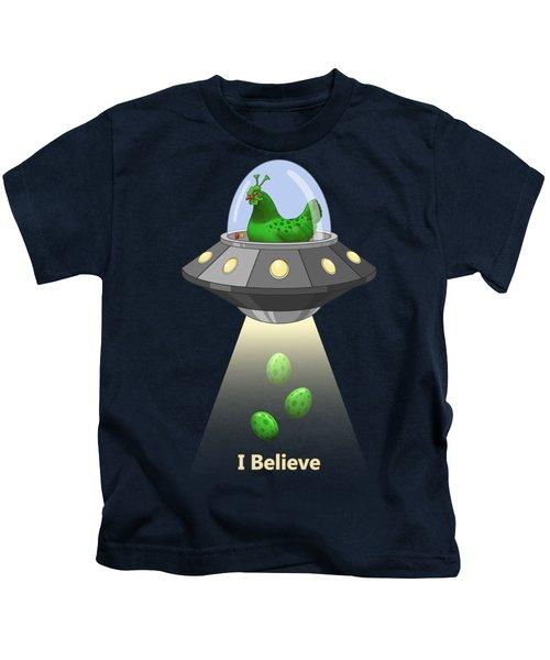 I Believe In Green Chicken Aliens Kids T-Shirt