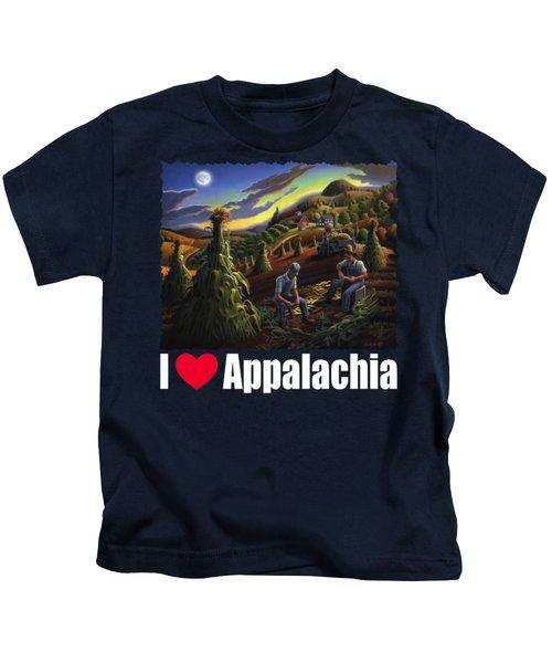 I Love Appalachia T Shirt - Farmers Shucking Corn Til Sunset 2 - Rural Appalachian Landscape Kids T-Shirt
