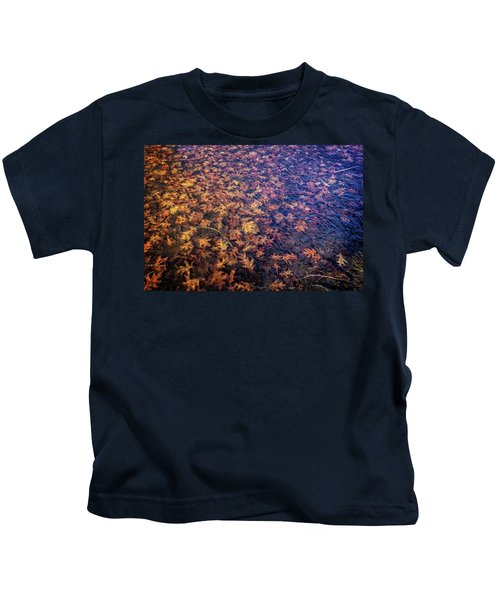 Ice On Oak Leaves Kids T-Shirt