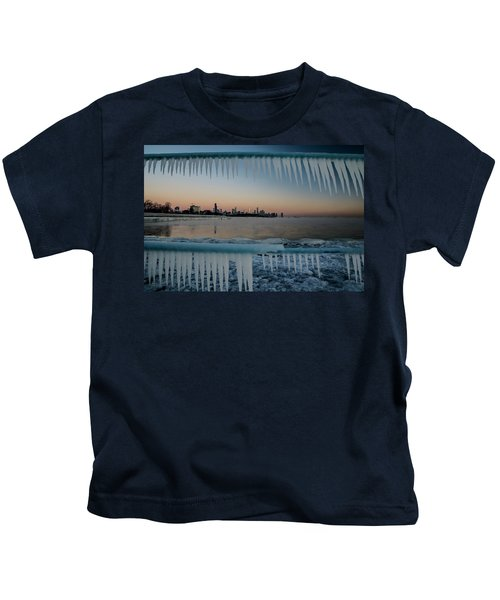 Icicles And Chicago Skyline Kids T-Shirt