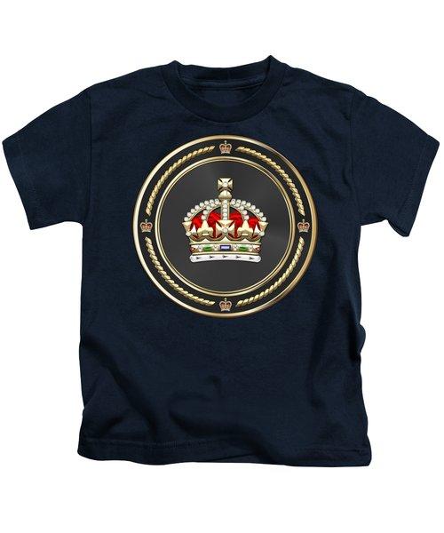 Imperial Tudor Crown Over Blue Velvet Kids T-Shirt