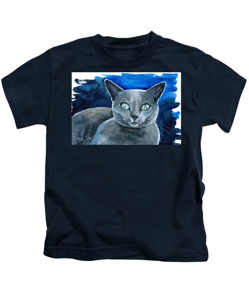 Jackpot - Russian Blue Cat Painting Kids T-Shirt