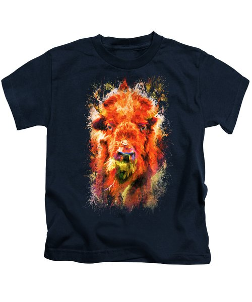 Jazzy Buffalo Colorful Animal Art By Jai Johnson Kids T-Shirt by Jai Johnson