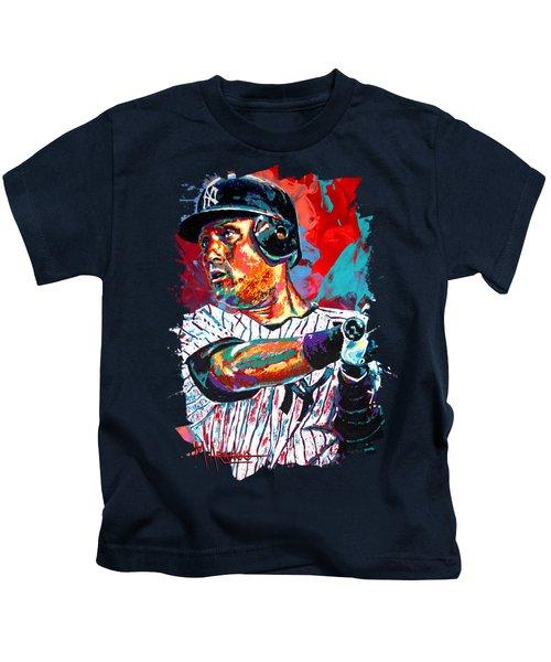 Jeter At Bat Kids T-Shirt by Maria Arango
