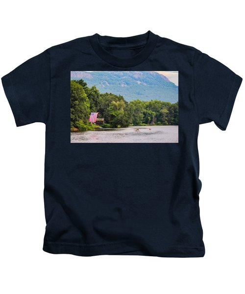 Kayaking On Nashawannuck Pond Easthampon Kids T-Shirt