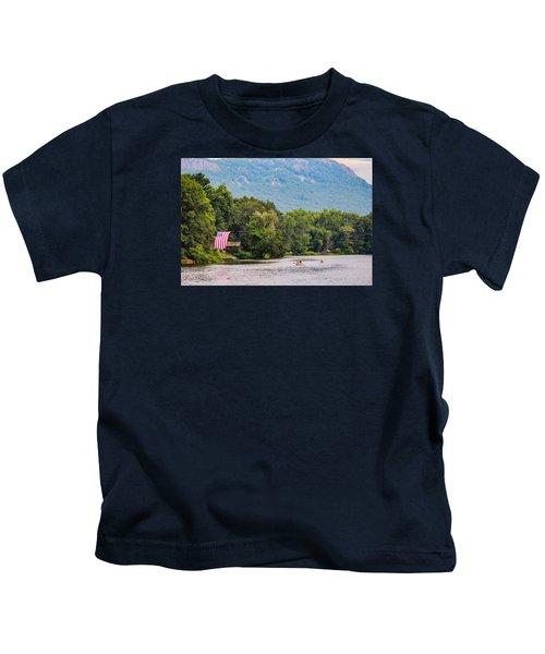 Kayaking On Nashawannuck Pond Easthampon Kids T-Shirt