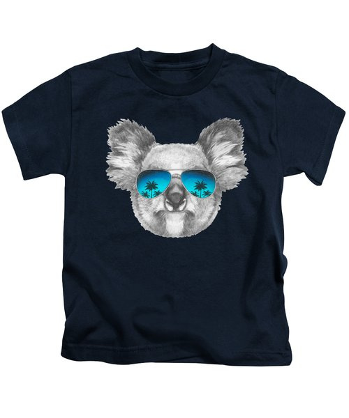 Koala With Mirror Sunglasses Kids T-Shirt by Marco Sousa