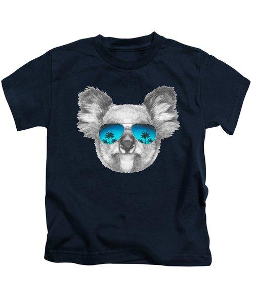 Koala With Mirror Sunglasses Kids T-Shirt