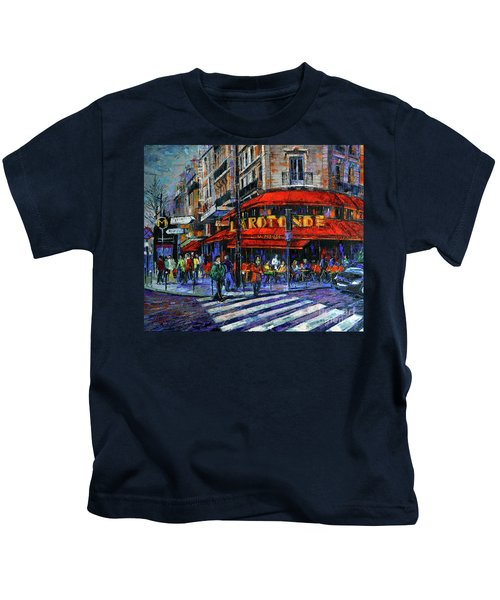 La Rotonde Paris Modern Impressionist Palette Knife Oil Painting Kids T-Shirt
