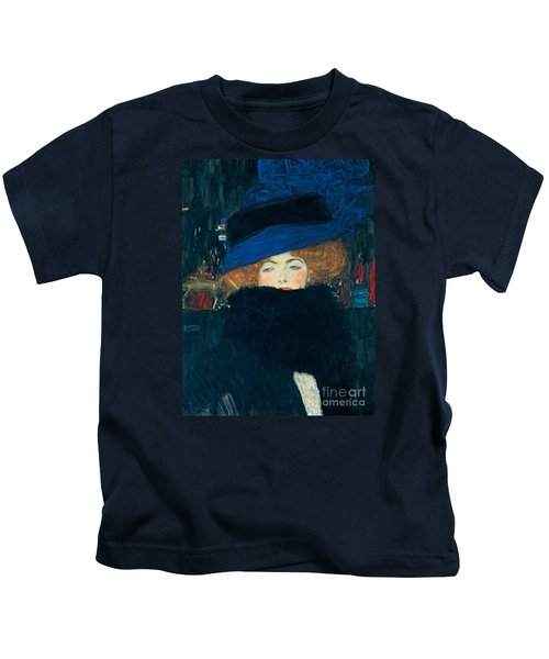 Lady With A Hat And A Feather Boa Kids T-Shirt by Gustav Klimt