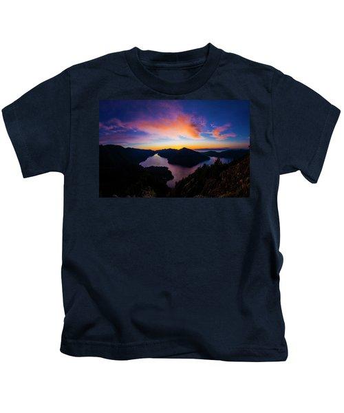 Lake Crescent Sunset Kids T-Shirt