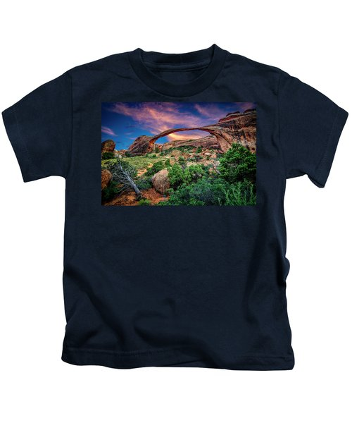 Landscape Arch At Sunset Kids T-Shirt