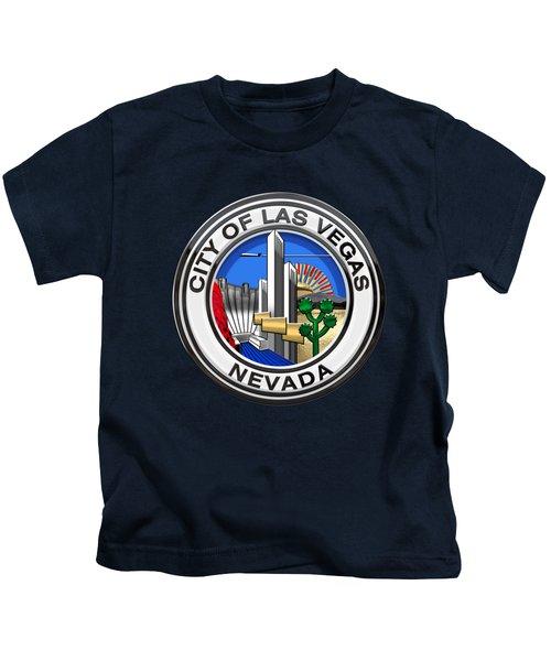 Las Vegas City Seal Over Blue Velvet Kids T-Shirt