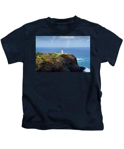 Lighthouse On A Cliff Kids T-Shirt