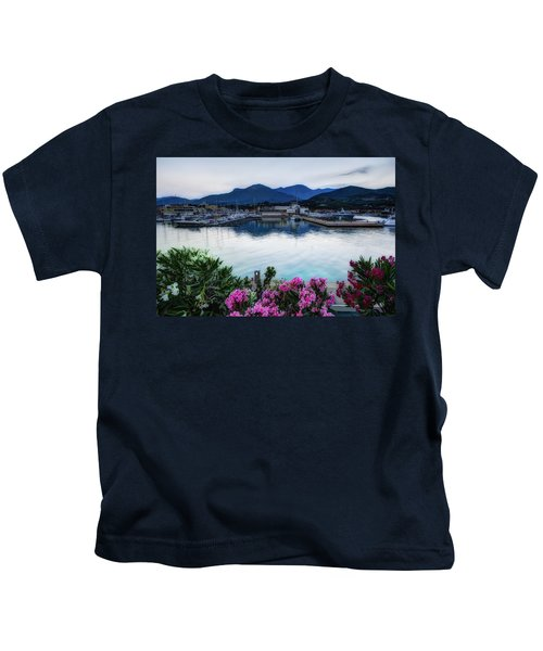 Loano Sunset Over Sea And Mountains With Flowers Kids T-Shirt