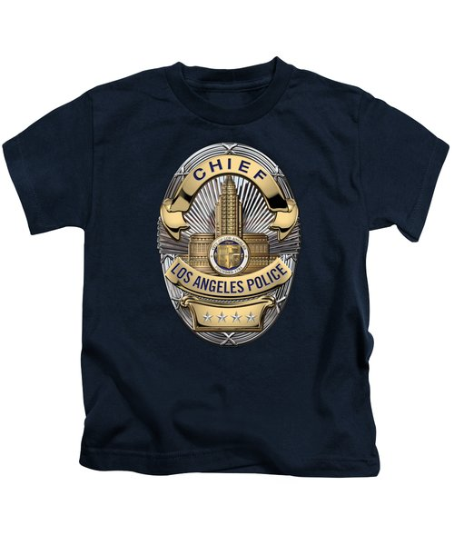 Los Angeles Police Department  -  L A P D  Chief Badge Over Blue Velvet Kids T-Shirt by Serge Averbukh